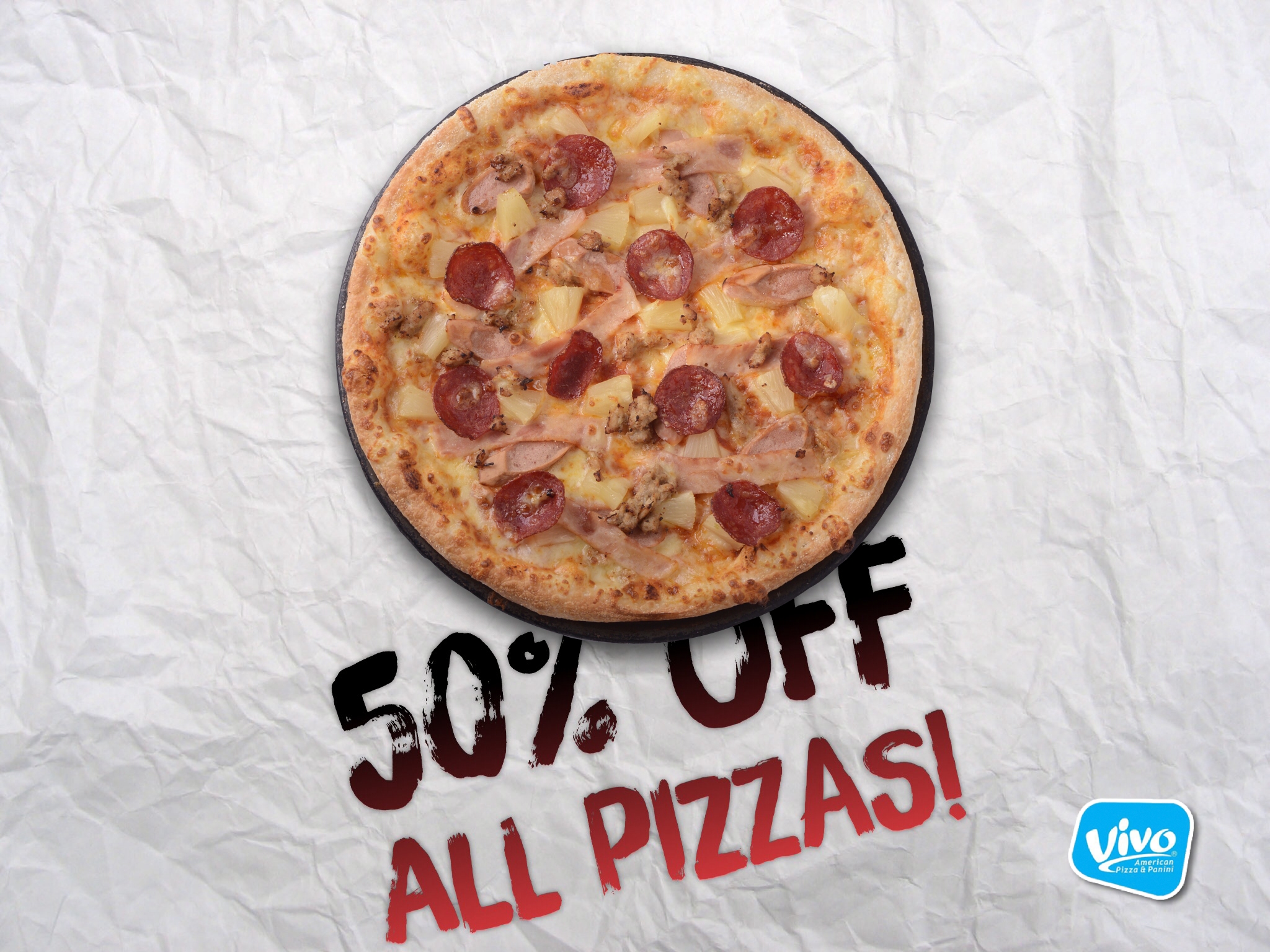 50% off all pizzas