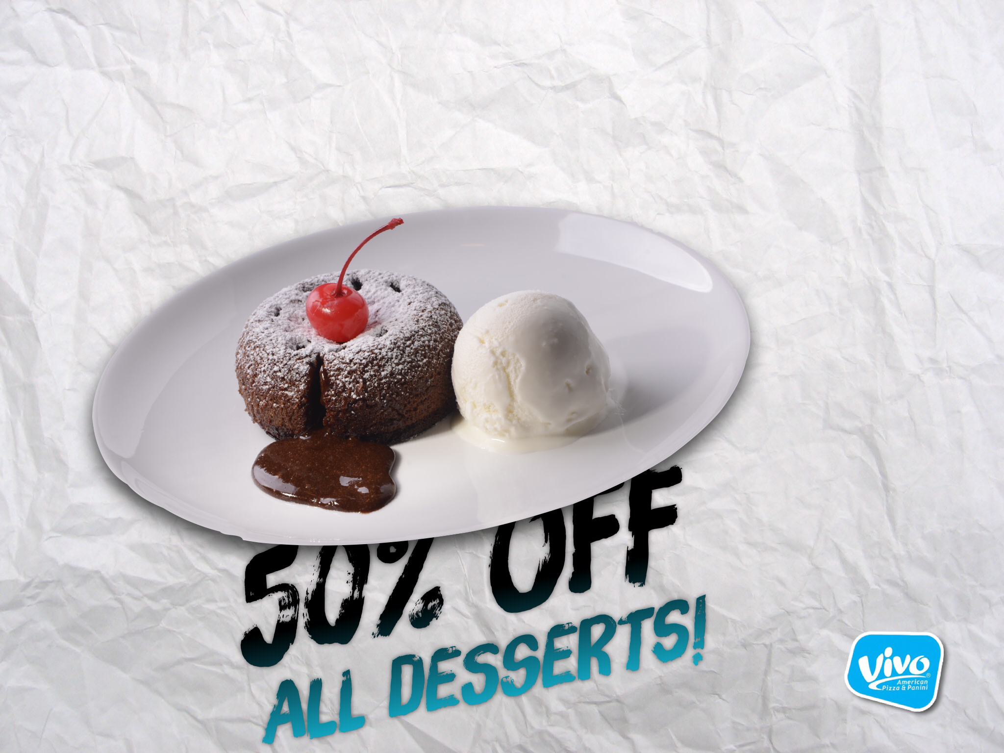 50% off all desserts